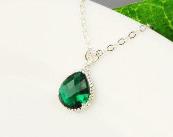 Emerald Green Necklace - Green Crystal Bridesmaid Necklace - Crystal Pendant Necklace - Crystal Bridesmaid Jewelry - Crystal Teardrop
