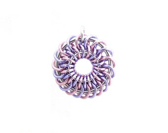 Aluminum Pendant, Chain Maille Jewelry, Pastel Pendant, Jump Ring Jewelry, Multicolor Pendant