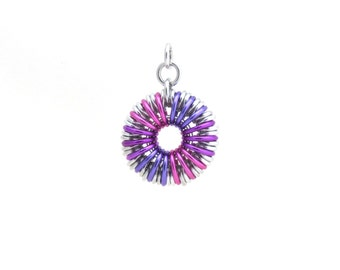 Chain Maille Pendant, Pink and Purple Pendant, Jump Ring Jewelry, Round Pendant, Aluminum Jewelry
