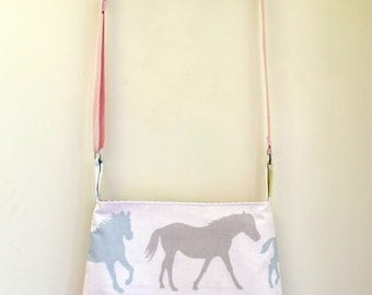 Purse, medium sized crossbody bag, with horses