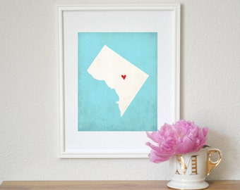 Washington DC State Art Silhouette Map Personalized Print. Washington DC Map Art.