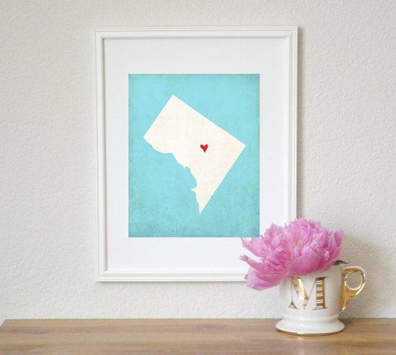 Washington DC State Art Silhouette Map Personalized Print