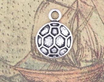 Soccer Ball Charm 10 Charms Antique Silver Tone 15 x 11 mm - ts518