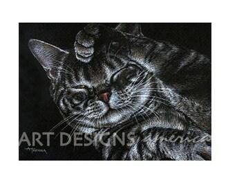 ACEO Grooming Tiger Cat Art Print, Archival Print, Cat Pastel Drawing, Cat Painting, Artist Trading Card, SFA Small Format Art, ADA-P246