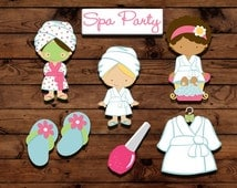 Spa party cupcake toppers, spa party decor, slumber party toppers, girls night party, cake decorations