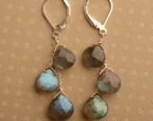 Labradorite Earrings, Blue Gray Gemstone Earrings, Labradorite Silver Dangle, Silver Leverback Earrings, Faceted Labradorite