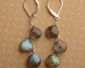Labradorite Earrings, Gemstone Dangle, Silver Gemstone Earrings, Labradorite Dangle Earrings, Healing Gemstone Jewelry