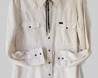 70s Wrangler Shirt / Rockabilly / Stripes / Cowboy / Westernwear / Country Wedding