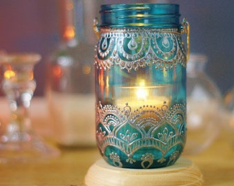 Henna Mason Jar Lantern, Teal Glass with Silver Detailing