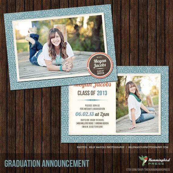 INSTANT Download5x7 Senior Graduation Announcement Card Template - G2