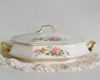 Vintage Antique English Casserole Dish. Early 1900s! Lidded Storage Display. Victorian Romantic, Pink Roses, Charming Cottage look!