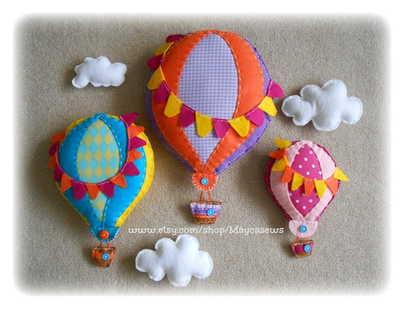 Happy Hot Air Balloon Set. 3D Wall Decor. For Nursery or Kids' Room. Photo Prop. --- Made to order---