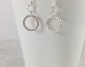 Karma Infinity Earrings - Textured Sterling Silver Open Space Circle Earrings