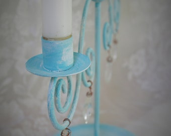 Metal candle holder Hand painted turquoise Washed with white Vintage glass pendants Copper wire