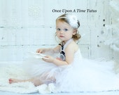 Snowflake White Feather Flower Headband - Christmas Holiday Newborn Baby First Hairbow - Little Girls Hair Bow - Winter Hair Accessory