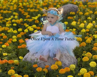 Aqua Blue & White Monarch Tutu Dress - Newborn Baby 3 6 9 12 18 24 Months 3T 4T 5 6 .. Turquoise Monarch Butterfly Halloween Costume
