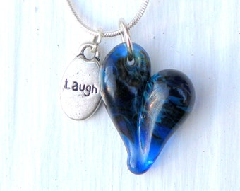 Glass Jewelry Heart, Necklace Laugh Charm, Hand Blown Glass, Blue Heart, Cobalt Blue Silver Chain SRA