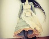Bespoke, Handmade, Clay Art Doll with Vintage Fabrics. Jane'