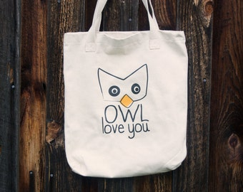 Canvas Tote - Owl Love You - Cute Owl Lover Inspired Tote Bag - Accessories - Women's Tote