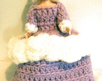 Vintage Kitschy Handmade Platinum Blonde Doll Tissue Paper Holder in Crochet Purple White Dress