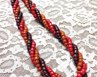 Vintage Multi-Colored Wooden Bead Necklace