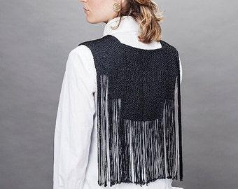 Fringe vest woven necklace, black top, silver top