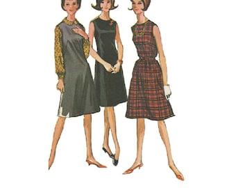 Retro 60s Sewing Pattern McCall's 6859 Sheath Dress Basic Jumper Sleeveless Romper A-line Skirt Loose Fit Blouse Uncut FF Bust 33