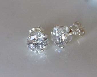 diamond cubic zirconia stud earrings, half carat faux diamond | post earrings | sterling silver studs | solitaire | bridesmaid gift