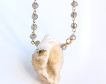 Seashell Druzy Necklace, Drusy, Labradorite Chain, Shell Fossil, Neutral