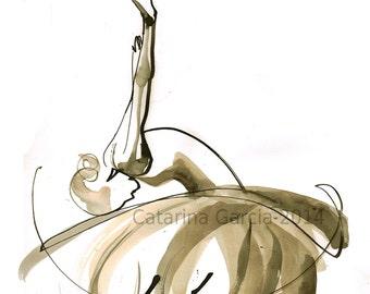 Original Watercolor Dance Drawing - Ballet Art Black Swan