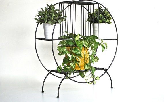 Large Vintage Plant Stand Round Mid Century Wire By