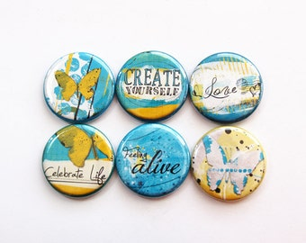 Magnet set, Magnets, button magnets, Fridge Magnets, Kitchen Magnets, Locker Magnets, Blue, Yellow, Create Yourself, Celebrate Life (3651)