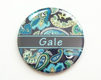 Personalized pocket mirror, pocket mirror, mirror, purse mirror, custom pocket mirror, paisley mirror, paisley design, blue, navy (3898)