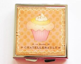 Cupcake Pill case, Pill case, Pill box, Cupcake pill box, Pill Case for purse, 4 Sections, Square Pill box, cupcake case,  (4068)