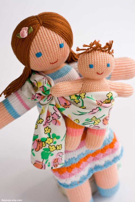 Babywearing Mommy Doll with a Baby Doll - knitted play dolls, gift for little girl, maternity, waldorf, eco toys - FrejaToys