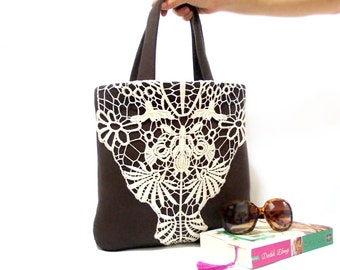 Free Shipping, Neoprene Tote Bag, Lace bag, Brown, Cream Lace, Brown Bag, Lace Shoulder, Tablet Bag, pregnancy gift, Soft bag