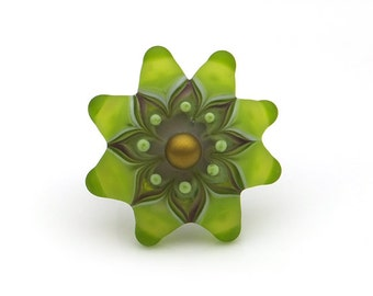 Etched Green Lampwork Glass Starburst Ring or Pendant Changeable Top Set