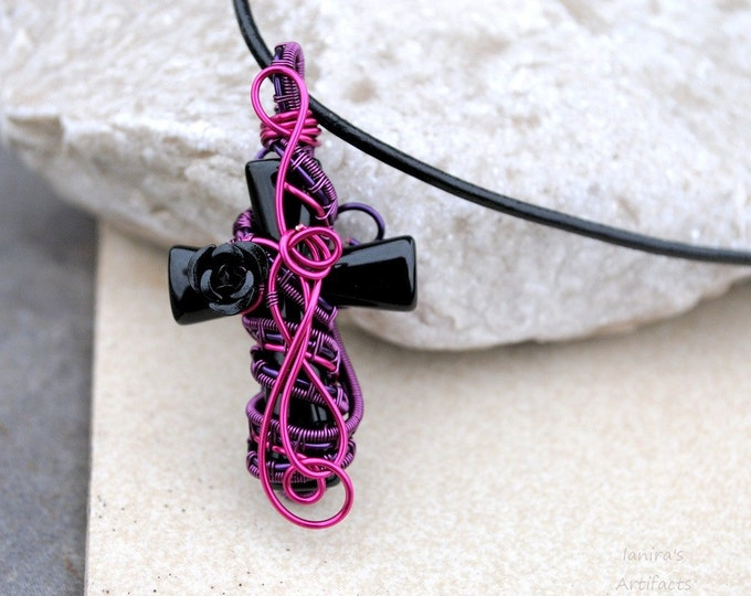 Black Gemstone Cross pendant