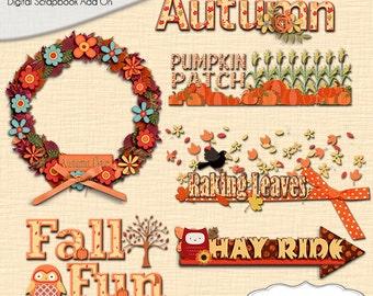 Autumn Cluster Word Art,  Fall Wreath, Pumpkin Patch, Raking Leaves, Fal Fun, Fall Teacher Clip Art, Birthday Ideas