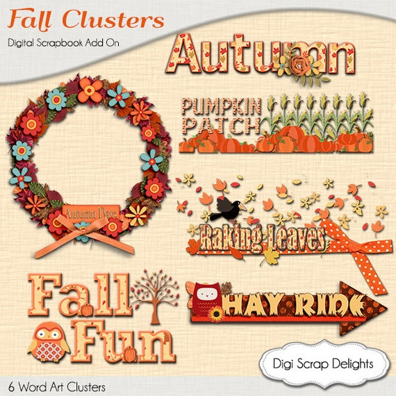 Autumn word artt clusters digital scrapbook