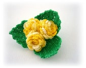 Crochet Brooch  - Cotton Corsage Brooch Pin - Lovely Yellow Roses - Shabby Chic Roses