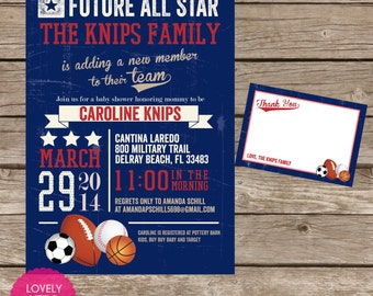 Printable Vintage Sport themed Baby Shower Invitation Kit - Invite AND Thank You Card included