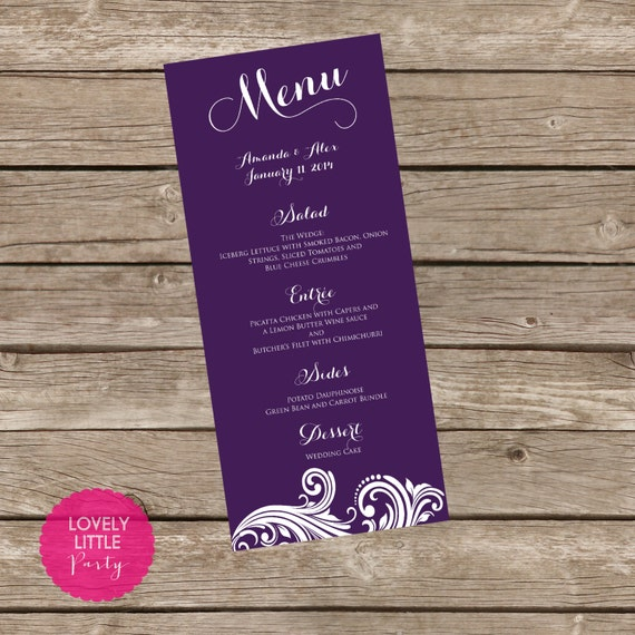 Printable Amanda Collection Filigree MENU for weddings, showers and parties - Lovely Little Party - You Choose Color