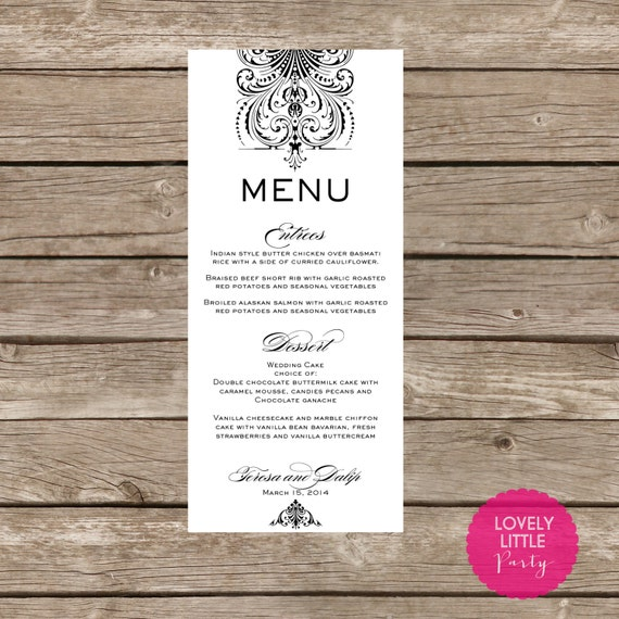 Printable Damask Menu for weddings, showers and parties - Lovely Little Party - You Choose Color