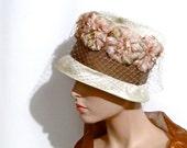 Vintage Hat Easter Wedding Straw Flowers Tall Brim Union Label circa 1950s