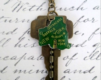 Key To New York Vintage Altered Key Green Enamel Map Of New York Charm Pendant