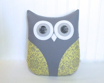 grey yellow nursery, yellow owl pillow, owl nursery decor, yellow grey baby shower by Whimsysweetwhimsy