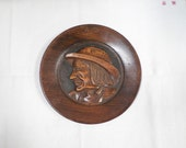 Vintage French Breton Signed Hand Carved Wooden Plate / Plaque m244