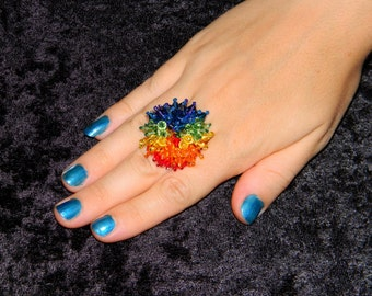 Dazzling Rainbow Beaded Blast Swarovski Crystal Ring Sparkle Fringe Bling Colorful Prom Custom Jewelry