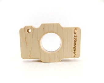 Personalized  Wooden  Camera Baby Teether - Wood Baby Teething and Grasping Toy